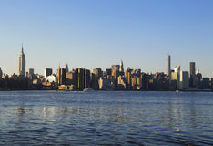Midtown Manhattan skyline panorama at sunset Stock Image