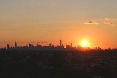 Midtown Manhattan skyline panorama at sunset Stock Photography