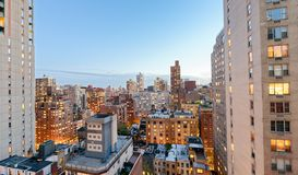 Midtown Manhattan skyscrapers as seen from city rooftop at sunse Royalty Free Stock Photography