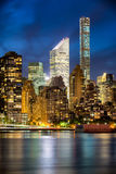 Midtown Manhattan Skyscrapers and East River after Sunset, New York City Royalty Free Stock Images