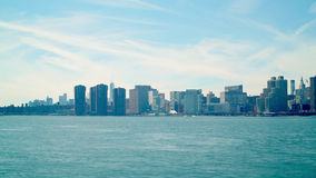Midtown manhattan view 4k time lapse from guntry plaza state park ny stock video