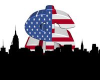 Midtown skyline with American flag dollar Stock Image