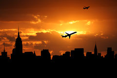 Midtown skyline with planes Stock Photo