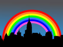 Midtown skyline with rainbow Royalty Free Stock Photo