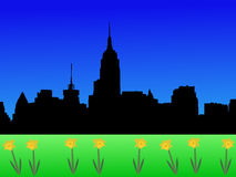 Midtown skyline in spring Royalty Free Stock Photos