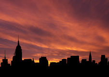 Midtown skyline at sunset Stock Photos
