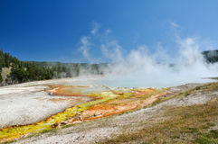 The Midway Geyser Basin. One of Yellowstone's colorful hot springs stock photography