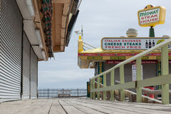 Midway Steak House. SEASIDE HEIGHTS, NEW JERSEY - March 21, 2017: The Midway Steak House on the boardwalk is closed up for the season Stock Photo