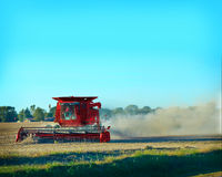 Midwest. A red tractor in the midwest stock image