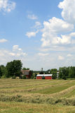 MidWest American Farm. (Lenawee County, Tecumseh MI) on a sunny day with hay waiting to be bailed stock images