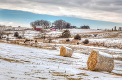 Midwest American Farm in Winter. Snow covered farm field in the American midwest stock photos
