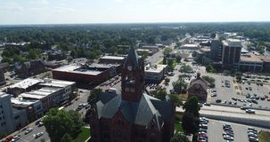 Midwest County Courthouse Aerial stock video footage