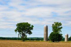 Midwest Farm. Field and Silos Against a Blue Sky on a Midwestern Farm Royalty Free Stock Image