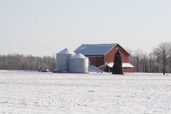 Midwest Farm on a Wintry Day Royalty Free Stock Image