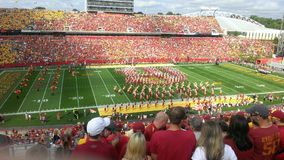 Midwest Football. I took this photo photo of the Iowa State Football Stadium in the summer month of August and it shows the band playing away as well as the fans royalty free stock image
