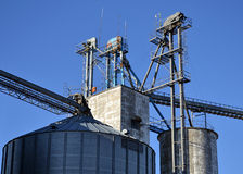 Midwest Grain Elevator. A grain elevator in Shipman, Illinois Royalty Free Stock Image