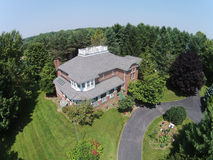 Midwest home aerial view. Upscale home in the USA Midwest aerial view stock images