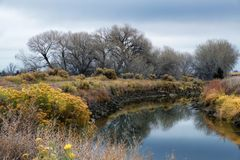Midwest kanal under tidig vinter fotografering för bildbyråer
