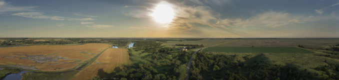Midwest River Valley Sunset. The Sun setting over a river valley in the Midwest stock photography