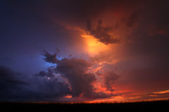 Midwest Thunderstorm Sunset Royalty Free Stock Photos