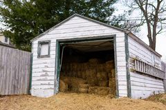 Midwestern hay shed stock photos