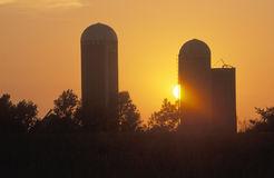 Midwestern sunset on a rural farm, IN Stock Photography