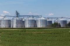 Midwestern Grain Elevators Royalty Free Stock Photos