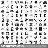 100 midwife icons set, simple style. 100 midwife icons set in simple style for any design vector illustration stock illustration