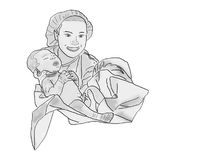 Midwife and newborn. Black and white illustration Stock Photography
