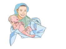Midwife and newborn. Color illustration Royalty Free Stock Photo