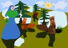 Midwinter γιορτές με Άγιο Brigid και groundhog διανυσματική απεικόνιση