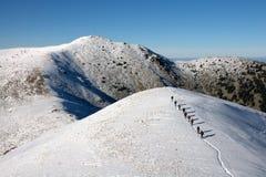 Midzhur of Midzor zijn een piek in de Balkan Bergen, gelegen aan de grens tussen Bulgarije en Servië Royalty-vrije Stock Foto