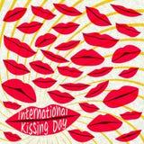 Międzynarodowy całowanie dnia tło czerwone usta Fotografia Stock