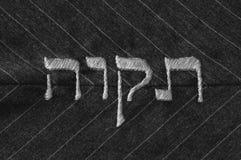 Mieć_nadzieja w Hebrajskim języku, zaszytym na tkaninie - monochrom obrazy stock