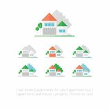 Mieścić - warianty domy na białym tle Zdjęcie Royalty Free