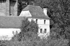 mieści chłopa Typowy wiejski krajobraz w Bradeni, Henndorf, Hegendorf, Transylvania, Rumunia Obrazy Stock