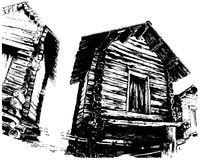 mieści drewnianego ilustracja wektor
