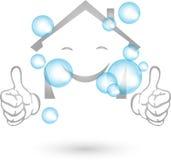 Mieści i bąble, domowy cleaning i profesjonalisty logo, ilustracji