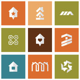 mieści ikony ustawiać mieszkań nieruchomości domów prawdziwego czynszu sprzedaży Obraz Stock