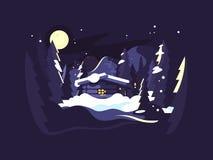 Mieści w drewno zimie ilustracja wektor