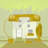 Mieści z dachowym telephonin dużego miasto w kolorze żółtym, łączy pojęcie, Obrazy Royalty Free