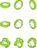 Mieści z zielonymi strzała diagramami Zdjęcia Stock