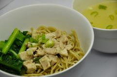 Mie ayam. Noodle served with chicken, mie ayam royalty free stock image