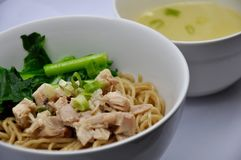 Mie ayam. Noodle served with chicken, mie ayam stock photos