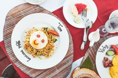 Mie goreng ayam, fried noodle with chicken. Indonesian traditional dish. Bali island royalty free stock photos