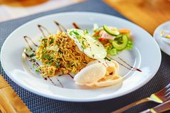 Mie goreng - spicy fried curry instant noodles Royalty Free Stock Photo