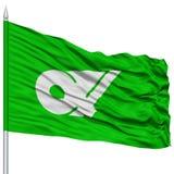 Mie Japan Prefecture Flag aislada en asta de bandera Foto de archivo