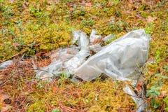 ?mieci w lasowym klingerycie butelkuje i torby rzuca? w lasowych krzakach i trawie Problem ekologia i natury zanieczyszczenie zdjęcia stock