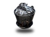 Śmieci w torbie dla eliminuje odosobnionego na bielu Fotografia Royalty Free