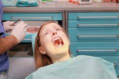 Miedo del dentista Imagenes de archivo